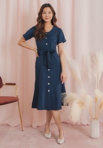 Shanice 2.0 Button Down Dress (Navy)