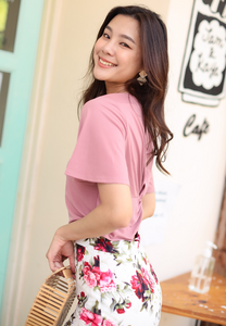 Marion Flare Sleeves Back Knot Top (Pink)