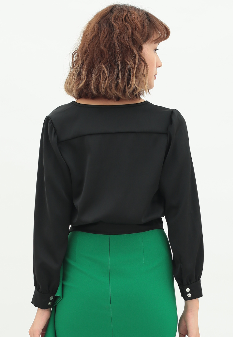 Passion Long Sleeve Satin Top (Black)