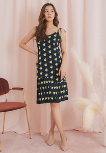 Jules Polka Print Slip on Dress (Navy)