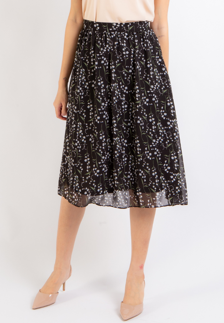 Grace Floral Midi Skirt (Black)