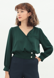Passion Long Sleeve Satin Top (Green)