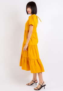 Mindful Tiered Hem Dress (Mustard)