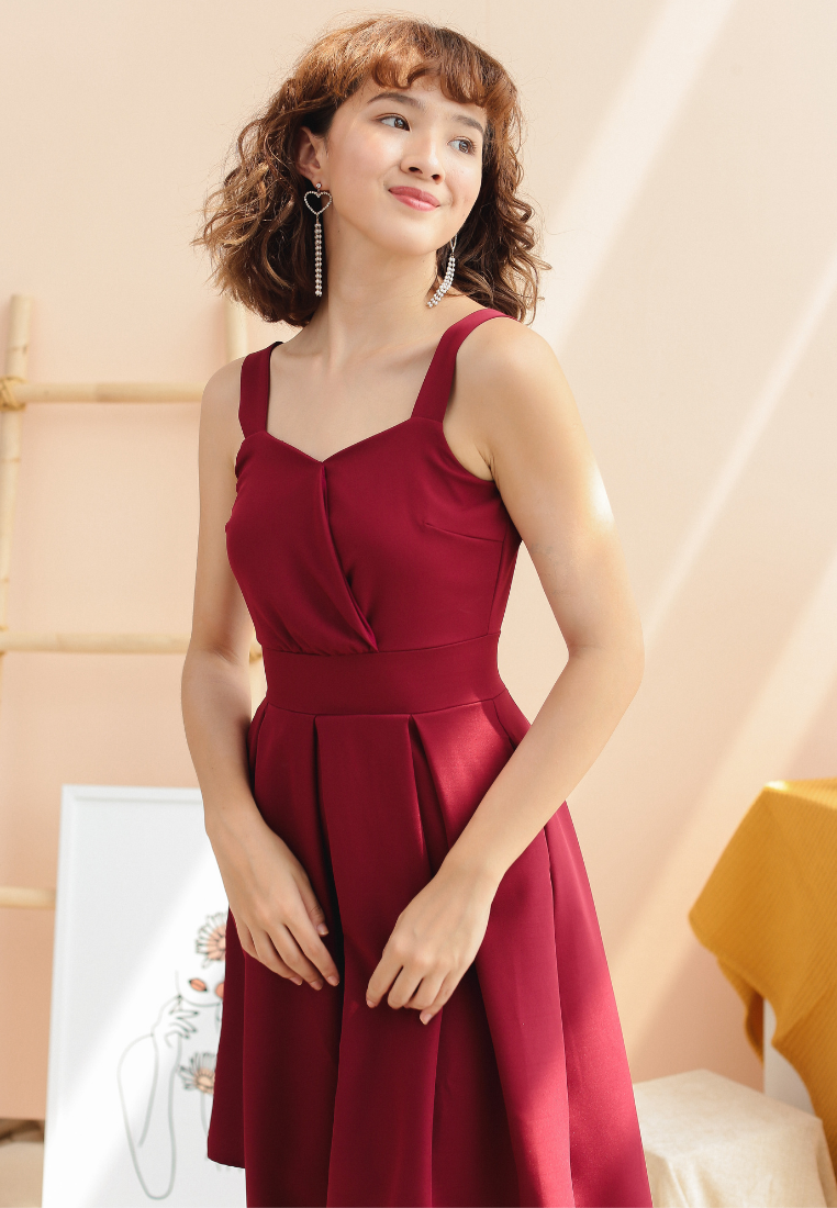 Jasmine Skater Dress (Maroon)
