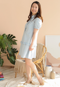 Pansy Shirt Dress with Ruffles (Blue)
