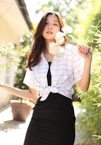 Weylie Button Down Self Tie Top (White)