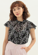 Load image into Gallery viewer, Dream Floral Cap Sleeve Top (Black)
