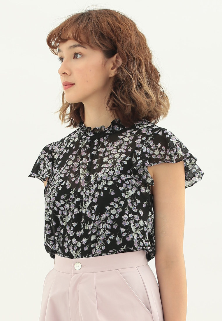 Dream Floral Cap Sleeve Top (Black)