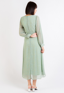 Respect Long Sleeve Floral Dress (Green)