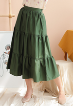 Load image into Gallery viewer, Willow Layered Hem A-line Skirt (Forest Green)