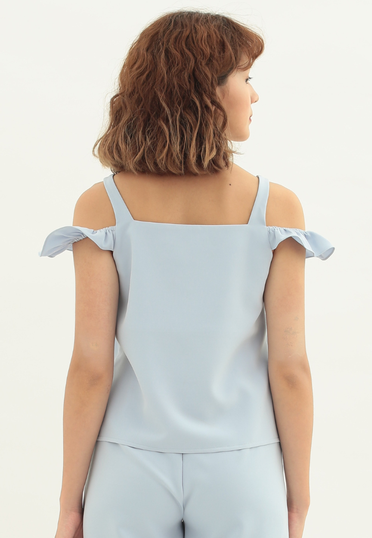 Clover Cold Shoulder Sleeveless Top (Blue)
