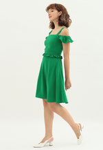 Load image into Gallery viewer, Dazzling Cold Shoulder Dress (Green)