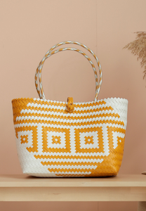 Borneo Hand Woven Bag (White and Yellow)