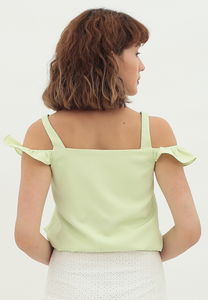 Clover Cold Shoulder Sleeveless Top (Lime Green)