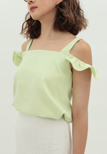 Load image into Gallery viewer, Clover Cold Shoulder Sleeveless Top (Lime Green)