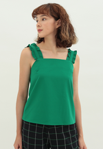 Load image into Gallery viewer, Mistletoe Ruffle Top (Green)