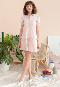 Pansy Shirt Dress with Ruffles (Pink)