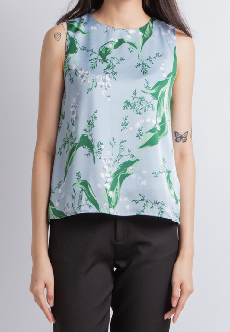 Cheery Floral Top (Sky)