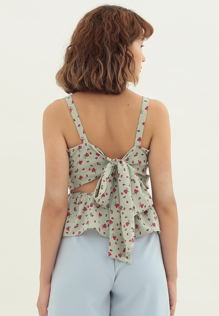Heather Ribbon Back Cami Top (Green)