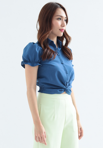 Azaleas Front Knot Puff Sleeves Top (Navy)