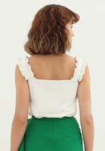 Load image into Gallery viewer, Mistletoe Ruffle Top (White)