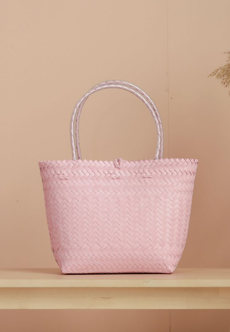 "Borneo Hand Woven Bag 10""x13"" (Light Pink)"