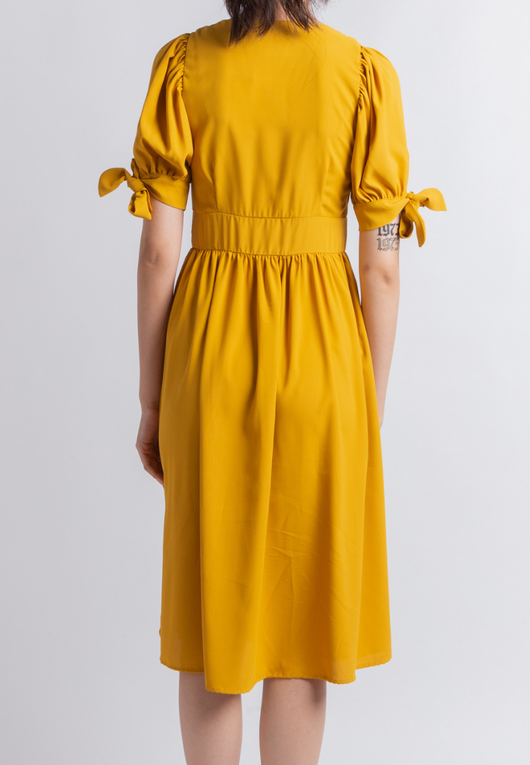 Work from Home Midi Dress (Mustard)