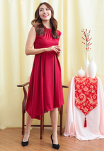 Load image into Gallery viewer, Violet Cap Sleeves Asymmetrical Dress (Red)