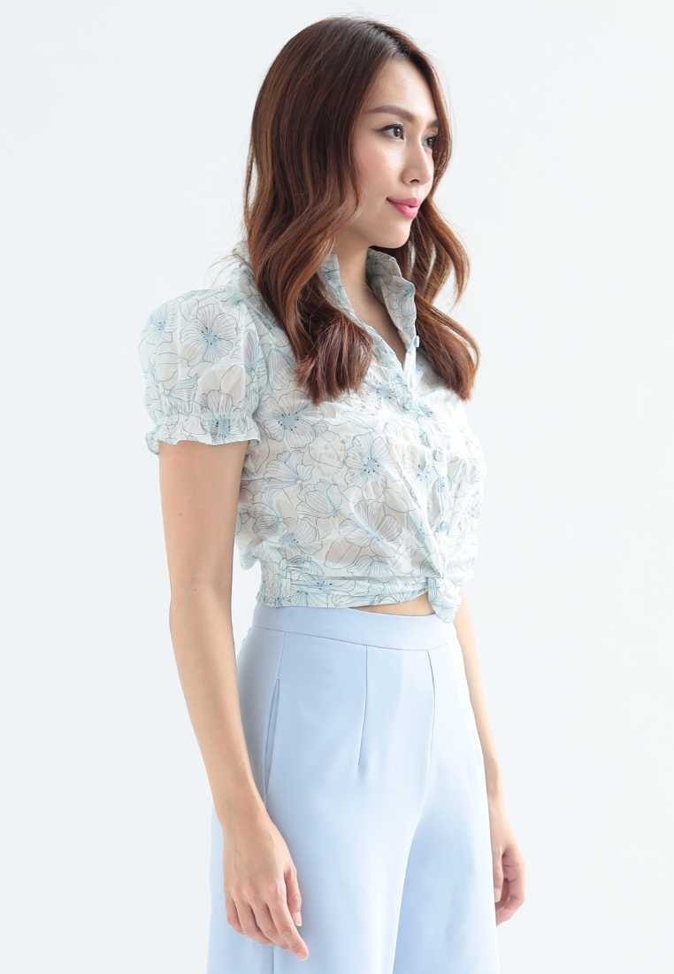 Azaleas Front Knot Puff Sleeves Top (White)