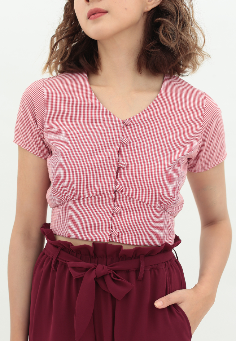 Daisy Checkered Crop Top (Red)