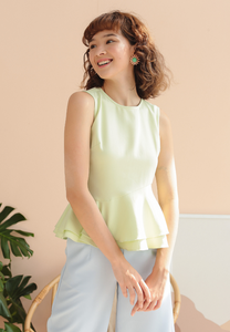Thistle Ruffle Hem Sleeveless Top (Lime Green)