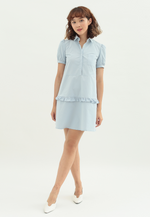 Load image into Gallery viewer, Pansy Shirt Dress with Ruffles (Blue)