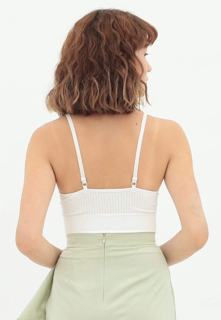 Magnolia Ribbed Knit Bralette (White)