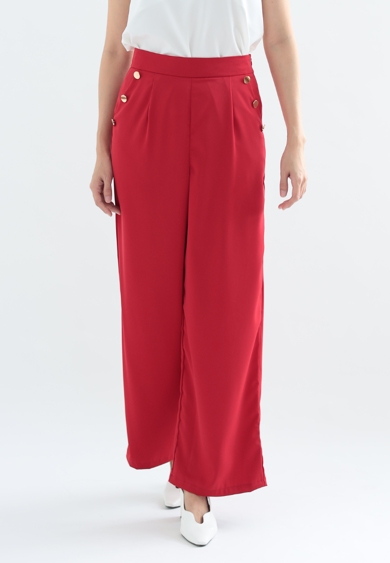 Hibiscus Wide Leg Pants with Buttons (Red)