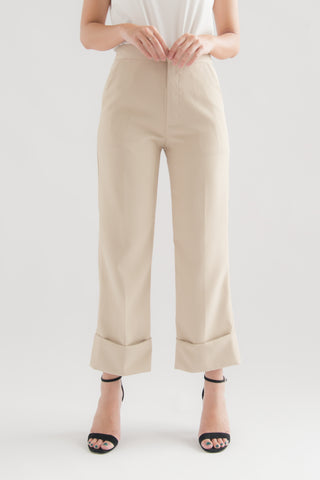 Hayden Cuffed High Waisted Formal Pants (Beige)