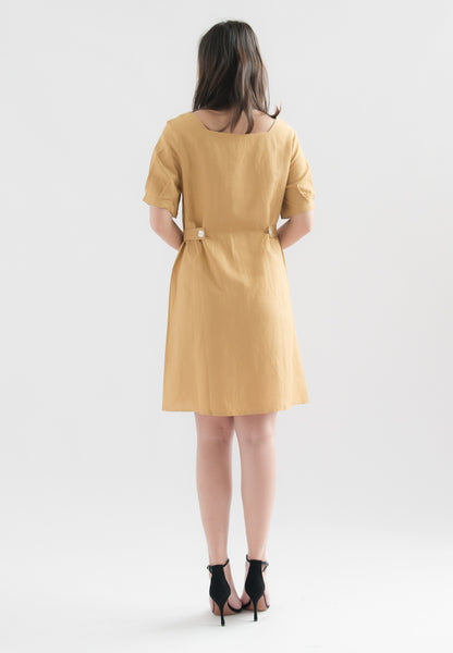 Raven Single Breasted Square Neck Dress (Mustard)