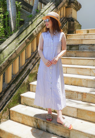 Jonquill Pinstripes Button Down Midi Dress (White)