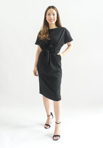 Simmone Sheath Dress With Sash (Black)
