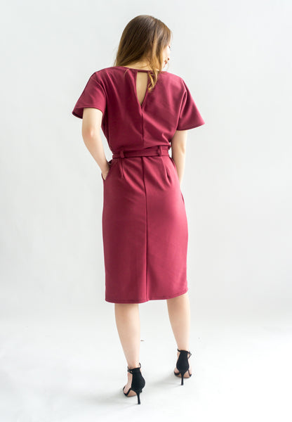 [BACKORDER] Simmone Sheath Dress With Sash (Maroon)