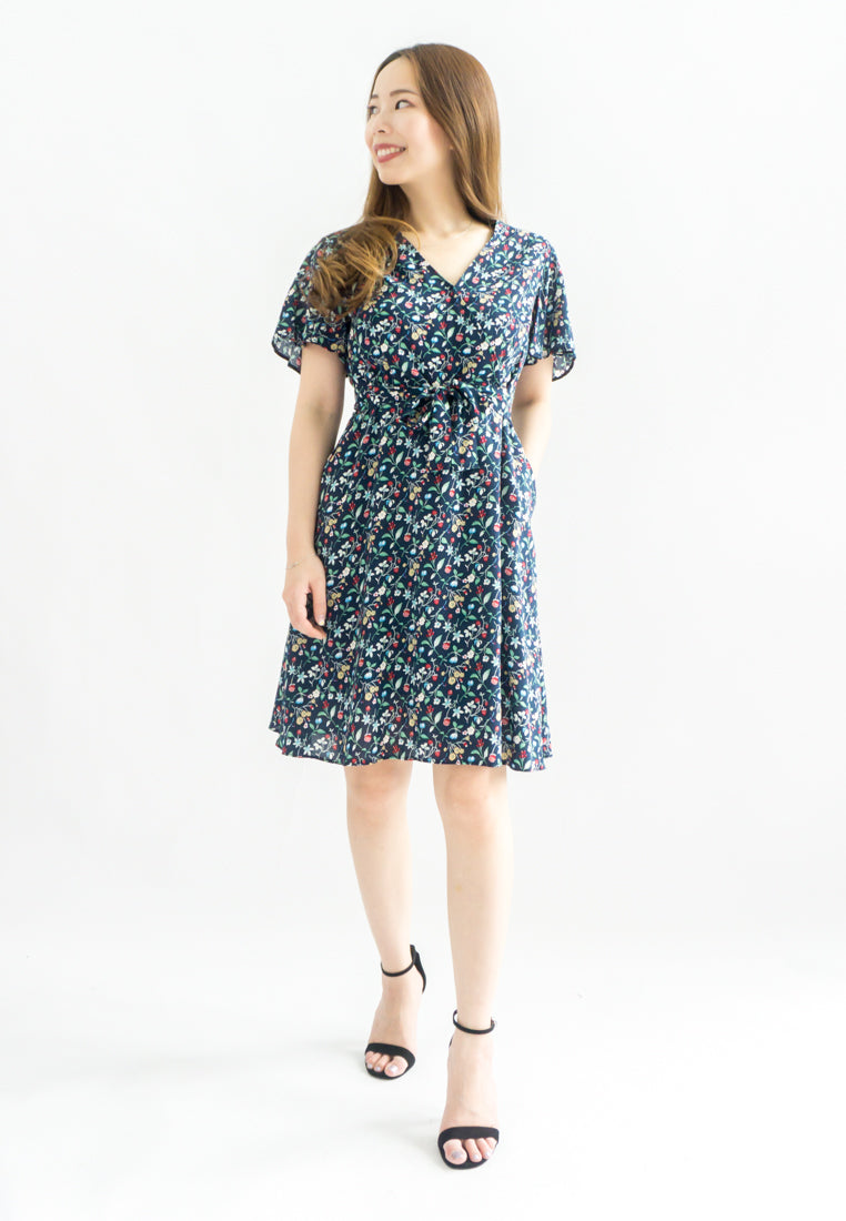Bea Dainty Floral A-line Dress (Navy)