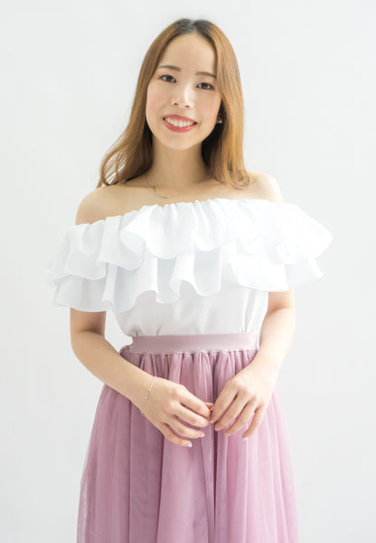 Laura Double Ruffle Off Shoulder Top (White)