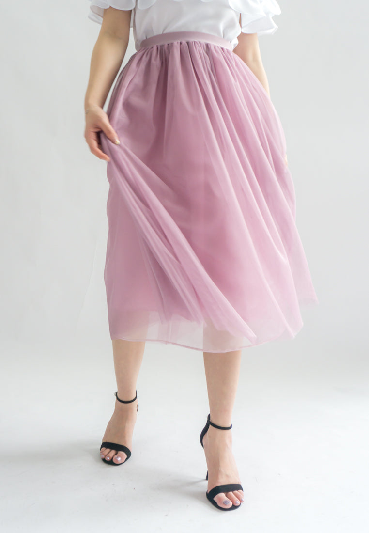 Molie Triple Layered Tulle Skirt (Pink)