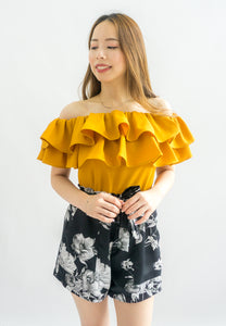 Laura Double Ruffle Off Shoulder Top (Mustard)