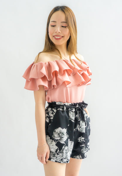 Laura Double Ruffle Off Shoulder Top (Pink)