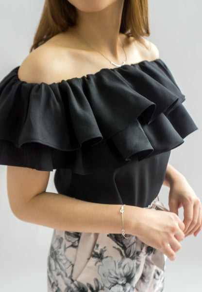 Laura Double Ruffle Off Shoulder Top (Black)