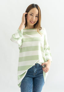 Lottie Knitted Striped Long Sleeve Top (Green)
