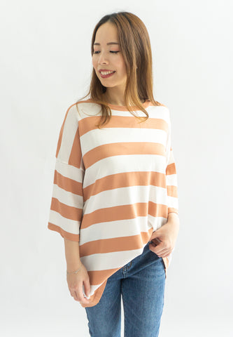 Lottie Knitted Striped Long Sleeve Top (Orange)