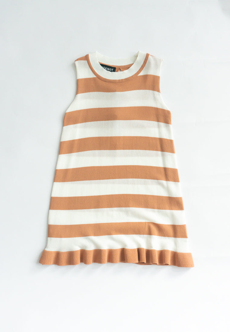 Little Lottie Knitted Striped Dress (Orange)