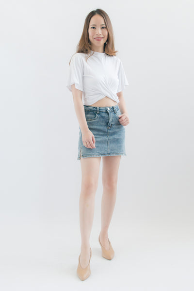 Astrid Denim Mini Skort (Blue)