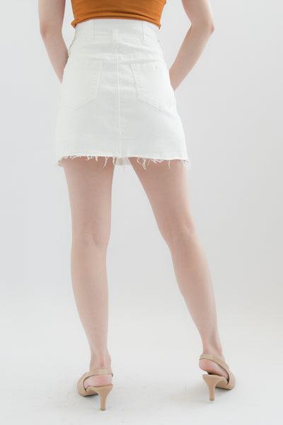Harlyn 3-button Denim Mini Skort (White)